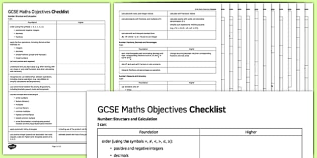 GCSE Maths Objectives Checklist - KS4, Maths, GCSE, Assessment, Objectives, Progression, new curriculum, secondary