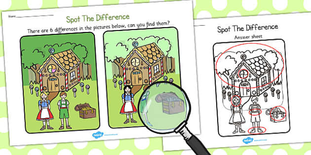 Hansel and Gretel Spot the Difference Activity - activities, game