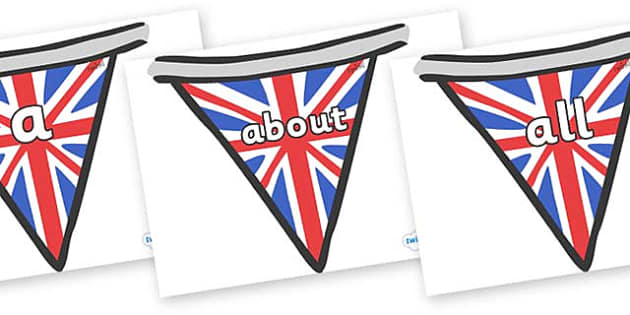 100 High Frequency Words on Bunting (British) - High frequency words, hfw, DfES Letters and Sounds, Letters and Sounds, display words