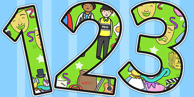 Green Role Play Area Themed Display Numbers - number, displays