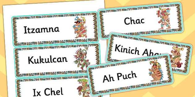 Maya Gods Word Cards - mayans, mayan, ancient maya, keywords