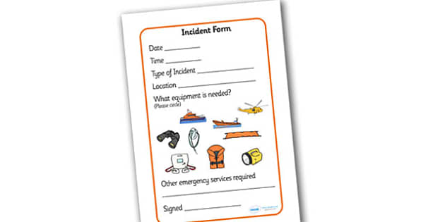 Lifeboat Station Incident Form - Life boat Role Play, life boat resources, seaside, seaside rescue, power boat, first aid, people who help us, role play, display, poster, form