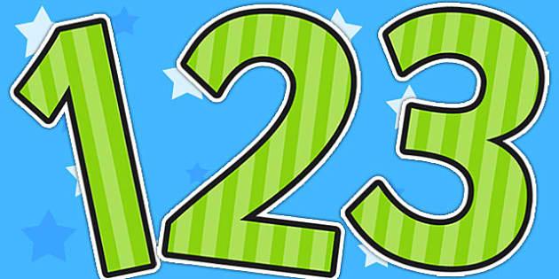 Green Striped Themed Display Numbers - display, numbers, stripe