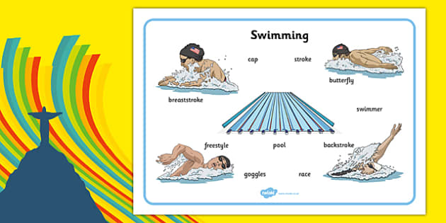The Olympics Swimming Word Mat -  rio, 2016, olympic, games, athletes, swim, swimming, sport, words, writing, literacy