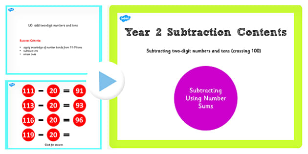 Y2 Subtracting 2 Digit Numbers Cross 100 Main Activity PowerPoint