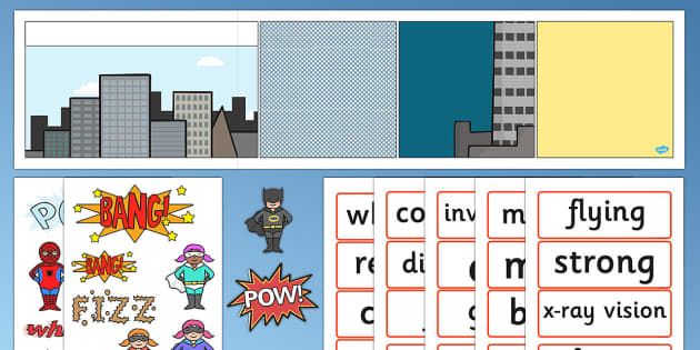 Superhero Comic Strip Display Key words - superhero, key words