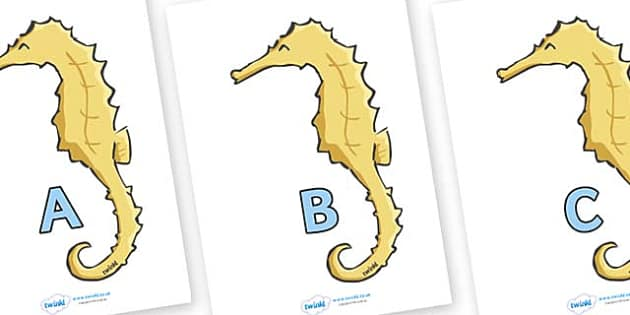 A-Z Alphabet on Seahorses - A-Z, A4, display, Alphabet frieze, Display letters, Letter posters, A-Z letters, Alphabet flashcards