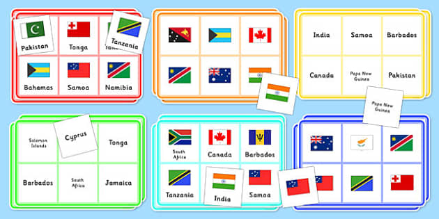 The Commonwealth Flags Bingo- The Commonwealth Flags Bingo, commonwealth, the commonwealth, bingo, game, flags, different, flag, United Kingdom, British, 54, countries, England, Great Britain, community