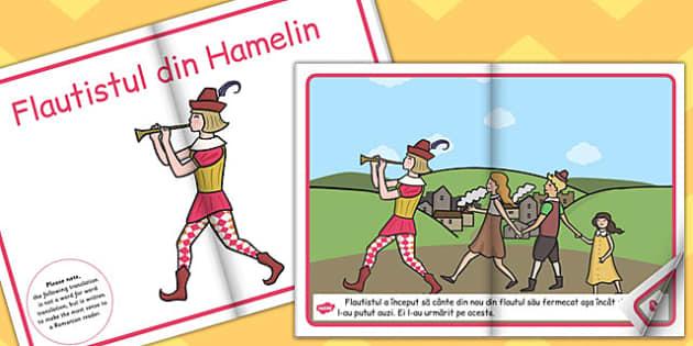 Flautistul din Hamelin, poveste ilustrata, rezumat cu imagini, Romanian
