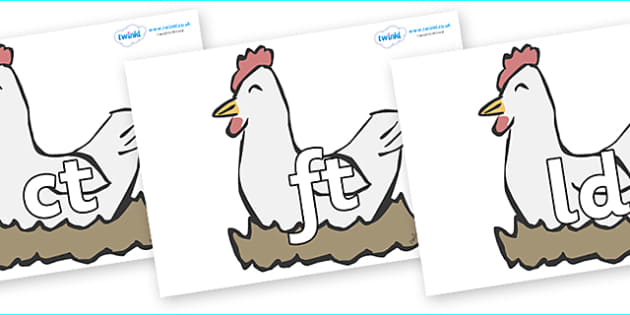 Final Letter Blends on Hens - Final Letters, final letter, letter blend, letter blends, consonant, consonants, digraph, trigraph, literacy, alphabet, letters, foundation stage literacy