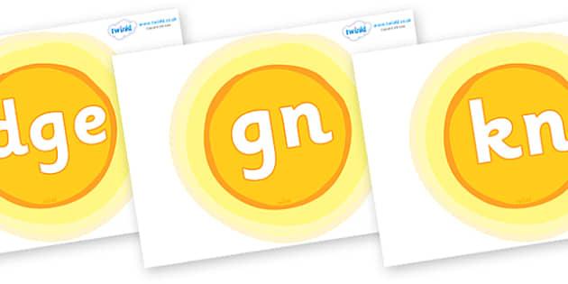 Silent Letters on Suns - Silent Letters, silent letter, letter blend, consonant, consonants, digraph, trigraph, A-Z letters, literacy, alphabet, letters, alternative sounds