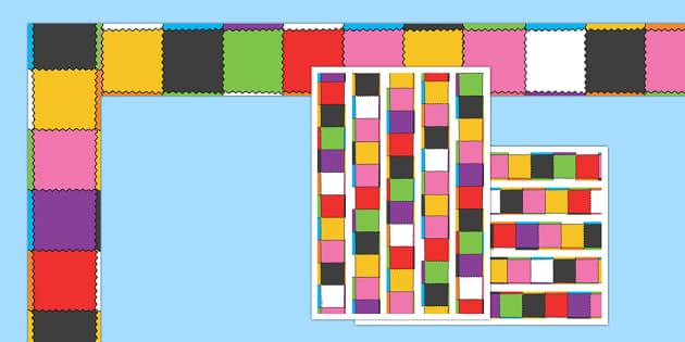 Patchwork Display Borders to Support Teaching on Elmer - Elmer, Elmer the elephant, resources, Elmer story, patchwork elephant, PSHE, PSE, David McKee, colours, patterns, story, story book, story book resources, story sequencing, story resources, Dis