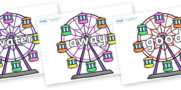 Next 200 Common Words on Ferris Wheels - Next 200 Common Words on  - DfES Letters and Sounds, Letters and Sounds, Letters and sounds words, Common words, 200 common words