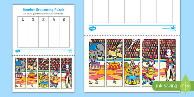 Circus Themed Number Sequencing Puzzle - number sequence, count