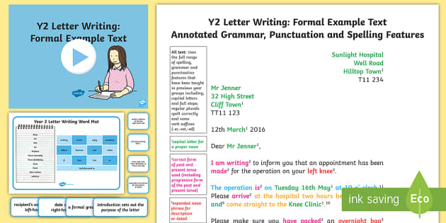 Y2 Letter Writing: Formal Model/Example Text - Example Texts Y2, formal letter, letter writing, exemplification, WAGOLL, letter, year 2, moderating, ARE, age-related example, model, model text, age-related model