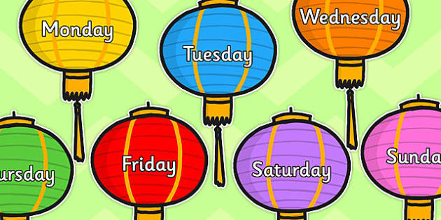 Days of week on Lanterns - chinese lanterns, days, week, Monday