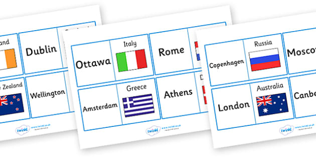 Capital Cities Looping Activity - capital cities looping activity, capital cities, capitals, world, countries, contry, captial, looping activity, activity, geography, knowledge, worldwide, around the world