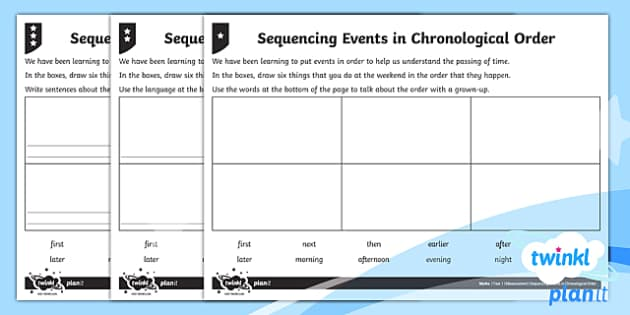 Sequencing Events in Chronological Order Home Learning Tasks - Measurement, measures, sequencing events, chronological order, home learning, homework.