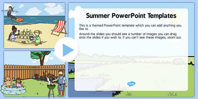Summer Editable PowerPoint Background Template - summer, editable, powerpoint, background, template