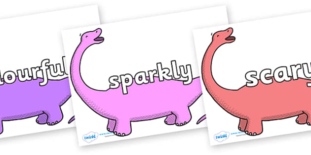 Wow Words on Apatosaurus to Support Teaching on Harry and the Bucketful of Dinosaurs - Wow words, adjectives, VCOP, describing, Wow, display, poster, wow display, tasty, scary, ugly, beautiful, colourful sharp, bouncy