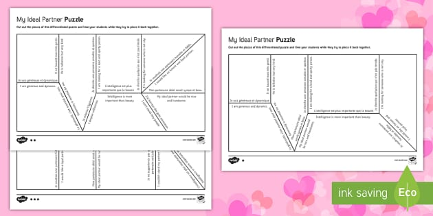 French Ideal Partner for Valentine's Day Differentiated Puzzle - Valentine's Day, French, 14th February, Saint Valentin, ideal, partner, qualities, adjectives, adje