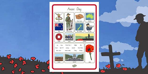 New Zealand Anzac Day Word Grid