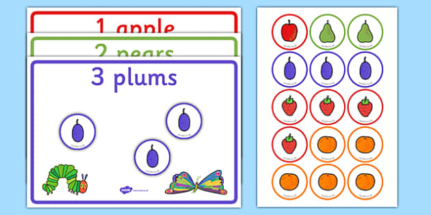 Read and Count Game to Support Teaching on The Very Hungry Caterpillar - Eric Carle, Maths, fruit