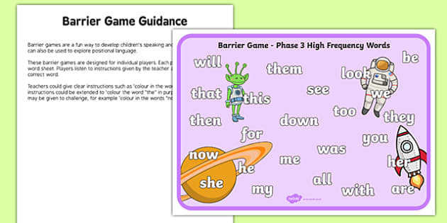 Phase 3 High Frequency Words Barrier Game Activity Sheet, worksheet