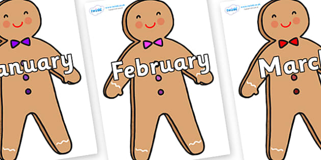 Months of the Year on Gingerbread Man - Months of the Year, Months poster, Months display, display, poster, frieze, Months, month, January, February, March, April, May, June, July, August, September