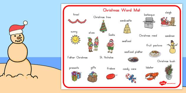 Australian Christmas Word Mat - mats, literacy, celebrations