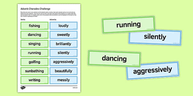 Adverb Charades Challenge - English, KS3, KS4, adverbs, vocabulary games, language, SPAG, writing choices, charades