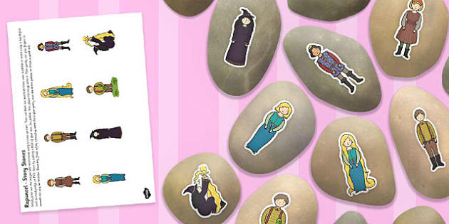 Rapunzel Story Stone Image Cut Outs - story stone, cut outs