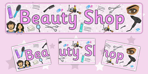 Beauty Shop Display Banner - Salon, role play, beauty salon, make up, nails, hair dressing up, play
