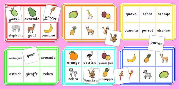 African Surprise Fruit Bingo - game, activity, activities, games