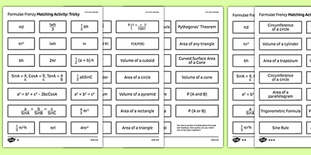 GCSE Maths Formulae Frenzy Matching Activity - Maths, KS3 KS4, formula, GCSE, shape, measure, area, volume, probability, trigonometry, compound interest