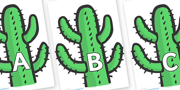 A-Z Alphabet on Cactus - A-Z, A4, display, Alphabet frieze, Display letters, Letter posters, A-Z letters, Alphabet flashcards