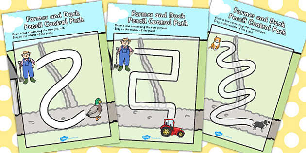 Farmer and Duck Pencil Control Maze Worksheets - farmer duck, pencil control, pencil control maze worksheets, maze worksheets, farmer duck themed sheets