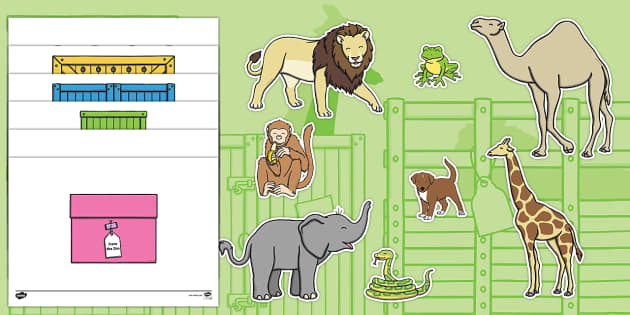 Story Cut-Outs to Support Teaching on Dear Zoo - Dear Zoo, Rod Campbell story, zoo, zoo animals, adjectives, descriptive words, lion, monkey, puppy, giraffe, story book, story book resources, story sequencing, story resources, zoo, animals, cut out