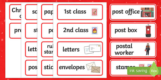 Christmas Post Office Word Cards - christmas post office, christmas, post office