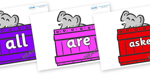 Tricky Words on Elephants (Crates) to Support Teaching on Dear Zoo - Tricky words, DfES Letters and Sounds, Letters and sounds, display, words