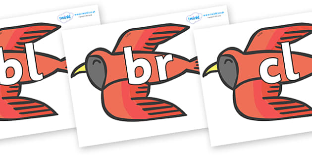 Initial Letter Blends on Red Bird to Support Teaching on Brown Bear, Brown Bear - Initial Letters, initial letter, letter blend, letter blends, consonant, consonants, digraph, trigraph, literacy, alphabet, letters, foundation stage literacy