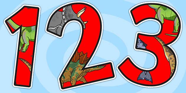 Realistic Dinosaurs Display Numbers - dinosaur, numbers, display