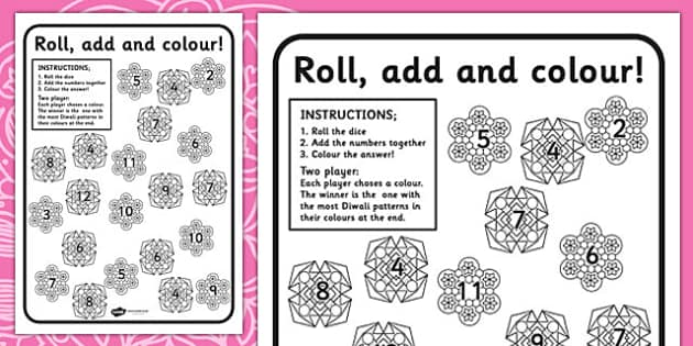Diwali Colour and Roll Worksheets - colouring, festival, religion