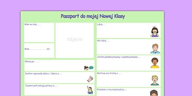 Paszport do Nowej Klasy po polsku - integracja, o sobie