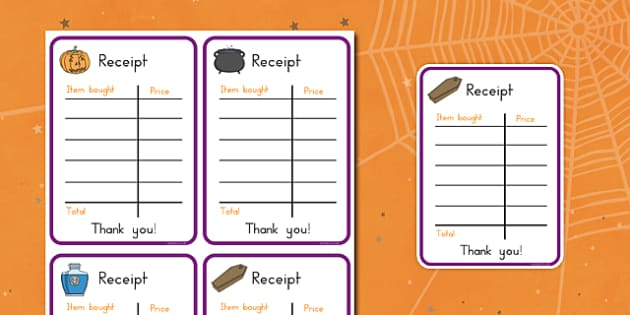 Halloween Fancy Dress Shop Role Play Receipt - american, us, usa, early years, independent, work area, kindergarten, writing, shopping, recording, pd, fine motor skills