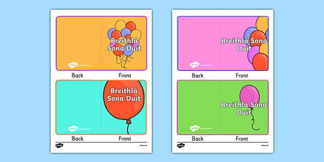 Breithlá Sona Duit Gift Card Template - Irish