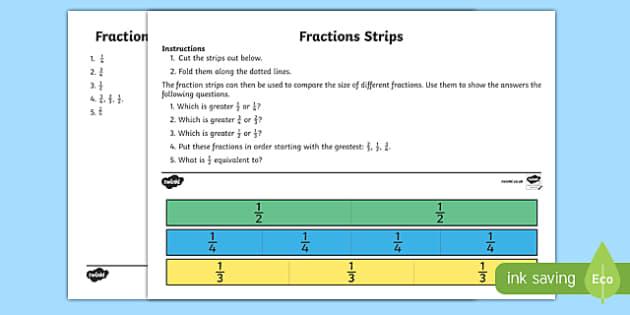 Fractions Strip Activity Sheet, worksheet