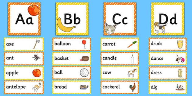 Alphabet Frieze with Word Bank - alphabet frieze, alphabet, frieze, pack, cards, images
