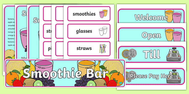 Smoothie Bar Role Play Pack - smoothie, bar, role play, pack, fruit, healthy, strawberry, banana, milk, ice