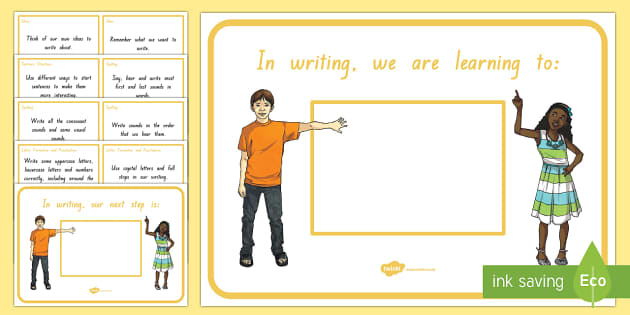 New Zealand Writing, First Year of School, We Are Learning and Next Learning Steps, Display Posters